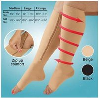 Wholesale 2015 new color women compression socks open toe zip sox Leg Shaper Thin leg socks Zip Up Zippered Knee Supports Stockings BBB2983 pair