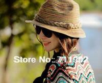 Wholesale lady s summer cap Handmade braided straw hat hemp flowers Bohemia beach stripe cap