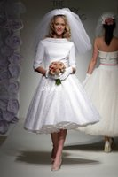 empire line dress - Tea Length Wedding Dresses Lace Vintage s Style Half Sleeves A Line Jewel Custom Made Cheap White Spring Wedding Party Bridal Gowns