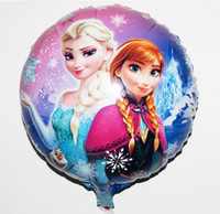 Wholesale Frozen Balloons Frozen Figures For Wedding Birthday Party Decorations Children Kids Anna Elsa inch round Aluminum foil cartoon helium bal
