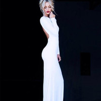 Cheap Custom Made 2016 Free Shipping Black Backless Evening Dresses High Neck Long Sleeves Side Split Mermaid Tight Prom Dresses Party Gowns