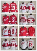 blank hockey jersey - Detroit Red Wings Ice Hockey Jerseys Gordie Howe Pavel Datsyuk Blank CCM Vintage Red White Throwback Sitched Jerseys Accept Mix Orders