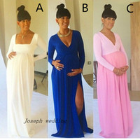Wholesale Latest Sexy Maternity Dresses with Side Slit V neck Royal Blue Baby Shower Long Sleeve Pregnant Dresses Cheap