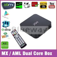 Wholesale MX TV BOX XBMC GOTHAM G BOX Midnight MX2 CS838 Amlogic Dual Core Android Smart IPTV BOX R28 Media Player Cortex A9 Miracast Airplay