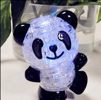 Wholesale New Blingbling Panda D Puzzles Baby Toys Lovely for Children Beautiful Crystal Puzzle with led light