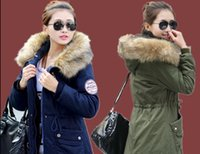 Wholesale Coats For Women winter plus velvet thickening women s medium long wool collar wadded jacket outerwear cotton padded jacket outerwear