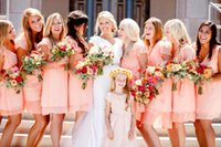 Cheap coral bridesmaid dresses 2015 Modest Strapless Knee Length Length Maid Of Honor A Line Ruched Wedding Guests Chiffon Bridesmaid Dresses