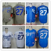 Baseball Men Short Royals Baseball Jerseys Men #27 FINNEGAN White Dark baby Blue Grey Jerseys stitched Top quality Mix Order Free Fast Shipping