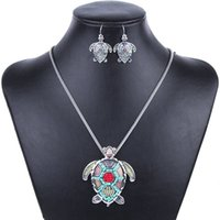 aqua bead necklace - MS1504255 Fashion Jewelry Sets High Quality Gold Plated Beads Multicolor Sea turtle Design Woman s Necklace Set Wedding Jewelry