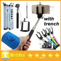 Wholesale Z07 s Cable Take Pole Selfie Stick Cell Phone Clip Holder Remote Controller With Trench Extendable Handheld Wired Control Monopod