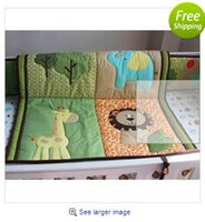Wholesale 3D stereo embroidery Lions giraffes elephants Animals Pieces Baby Boy Crib Cot Bedding Set Include Quilt Bumper Fitted Sheet