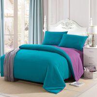 Wholesale Home Textiles Bedding Set Stylish Sanding Solid Color Comforter Bedclothes Suit Queen Size Duvet Cover Bed Sheet Pillowcases H15763