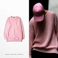 Wholesale Men s Pullover Cotton Sweater Winter Warm Round Neck Pink Streetwear hip hop swag High Quality GD Clothes S XXXL