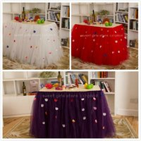 Wholesale newest fashion festival table skirt add petal handmade net veil tulle table skirt for wedding banquet holiday