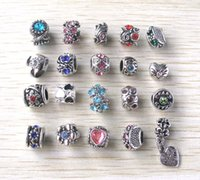 Wholesale 2015 fashion new silver plated alloy mis style mix color rhinestone alloy big hole beads charms fit European bracelet DIY