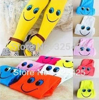 Wholesale Children Clothing Cute Smile Face Clild Pant Velvet Kid Pantyhose Girl Tights Mix Colors