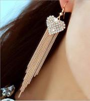 Wholesale New Arrival Fashion Stylish Women s Rhinestone Super Tassels Heart Drop Dangle Cocktail Party Linear Earrings Jewelry Hot