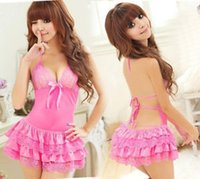 Wholesale 151020 Sexy Mini Skirt Sleepwear Babydoll Lingerie Lace Dress Night Nightgown Pajamas