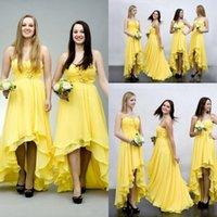 2016 Nuevo gasa elegante amarillo altas-bajas de la dama de honor vestidos para la boda vestidos de dama de honor de los espaguetis del partido de fin de curso de los vestidos baratos de las colmenas con gradas