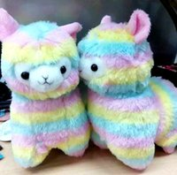 alpaca soft toy - Japanese Striped Rainbow Alpacasso Cute Alpaca Plush Toys Soft PP Cotton Stuffed Animals Alpaca Gifts for Kids cm