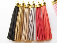 Cheap Free Shipping 10Pcs 90mm Mixed Suede Leather Jewelry Tassel For Key Chains  Cellphone Charms Top Plated End Caps Cord Tip
