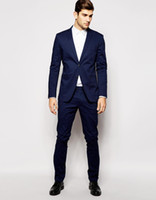 Wholesale Fashion Navy Blue Tuxedos Jacket Pants Notched Lapel Two Pieces Mens Suits Custom Made Slim Fit Groomsmen Wedding Suits Jacket Pants