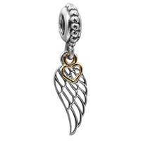 Corazones de oro de la plata esterlina del corazón 100% 925 del corazón de la guía 14K del amor del ala encantan la pulsera auténtica de la pulsera de los encantos de Pandora