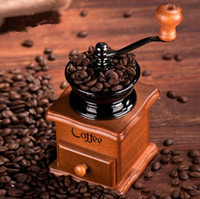 Wholesale manual coffee grinder manual pine wood coffee grinder Ceramic grinding core Adjustable thickness mini coffee machine