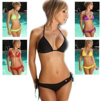 discount bathing suits - 2016 Women Swimwear Swimsuits colors bathing suits bikini sets pure color beach Swimwear Free size sw0002 special discount