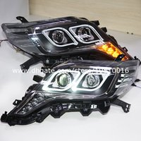 headlight projector lens - 2014 year Prado FJ150 LED Headlight Angel Eyes with Projector Lens Black Housing