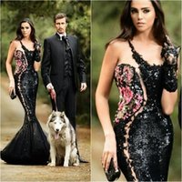 beaded embroidery designs - 2016 New Design Rami Salamoun Evening Dresses Sparkling Black Sequins Crystals Flowers Applique Floor Length Celebrity Party Prom Dress