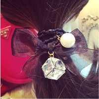 band holster - 2014 new sinews Glass crystal Diamond hair Pearl lace bowknot steamer Hair bands holster