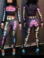 ladies pant suits - 2014 Autumn Women Crazy Girl Hot Fashion Pant Set Ladies Sexy Letter Print Crop Top and Pant Set sports suit jogging B5115