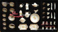 Wholesale scale Toy Dollhouse Miniature Porcelain Tea Coffee Dinner Set For Dolls