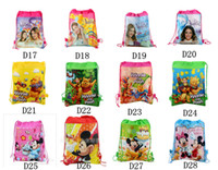 Wholesale Children s Backpack Drawstring Handbags Minions Frozen Hello Kitty Kiddy Girl And The Smurfs Spiderman Handbag School Bags DHL Fre