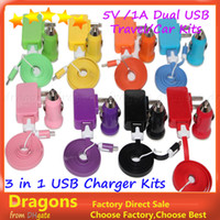 For LG adapter travel kit - 3 in charger kits V A USB Home charger Travel adapter Micro USB Flat V8 cable USB car charger For Samsung Note3 S6