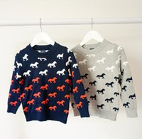 christmas jumpers - Merry Christmas Brand Boys Girls Jumper Sweaters Winter Crochet Cotton Horse Warm Sweater Outwear Kids Child Clothes Gray Navy Blue K2795