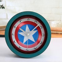 activate mechanical - 3 kinds of color wooden Board vintage alarm clock Captain America D shield table clock activated Battery