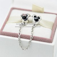 Wholesale New S925 Sterling Silver Heart of Mickey Minnie Safety Chain Charm with Black Red Enamel Fit European Pandora Charm Bracelets ZJ01