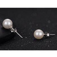 ball earrings unique - Ball Silver Handmade White Pearl Earrings Piercing Stud Earrings Women Lady Fashion Unique Jewelry Ball Earrings
