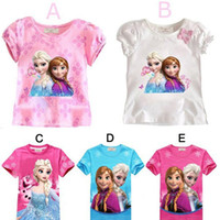 summer clothes for girls - 5 colors elsa anna frozen t shirts kids clothes girls for branded children year tees t shirt for girls summer style cartoon blouse tops