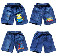 Wholesale 2015 New boys cartoon printed Jeans kids summer cotton shorts childrens lovely sports pants Children jeans