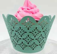 ice cream paper cup - 32 Colors Pearl Paper PE Glossy Cupcake Wrappers Laser Cut Floral Ice Cream Cups New Year Party Cakes Decoration WE143