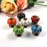 Wholesale 6Pieces White Pumpkin Knobs Ceramic Door Kitchen Cabinet Cupboard Handles Pull Drawer mm
