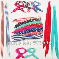 Wholesale 8 Rabbit Bunny Ear DIY Wire cute girl Headband Scarf Hair Band Bow Head Wrap Polkadot cm Colorful Q07