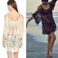 Wholesale 2015 fashion beach dress swimwear sexy crochet lace women cover ups summer bikini cover up black white STZS