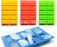 Wholesale 10pcs creative DIY Brick Shaped Silicon budding Ice Cube fruit Tray Mini Robot Figure Silicone Chocolate Cake Mold Tray