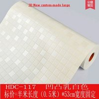 ceramic wall tile - home decor High end PVC waterproof adhesive bathroom wall paper white Mosaic wall ceramic tile stick wallpaper kitchen toilet oil stickers