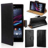 Stands de bobine Avis-Pour Sony Xperia Z3 / Z3 Compact mini réel véritable cuir Wallet Card Stand cas couvrir pour Z3mini