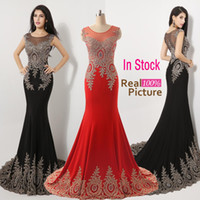Wholesale 2015 Luxury Real Images Sheer Neck Black Red Formal Evening Prom Dresses Appliques Celebrity Pageant Wedding Party Gowns India Arabic